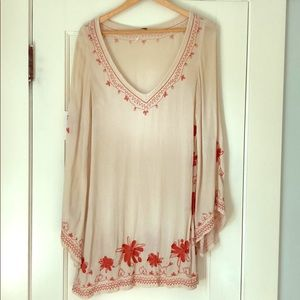 Cream, gauze, cotton tunic with orange embroidery